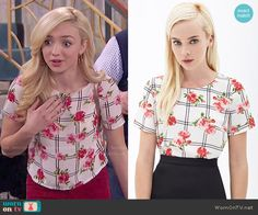Emma's floral and checked top on Jessie.  Outfit Details: http://wornontv.net/51813/ #Jessie
