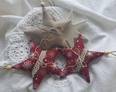 Weihnachtsbaumschmuck Sterne Landhaus  von Feinerlei auf DaWanda.com