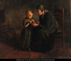 The Knitting Lesson, by Jacob Simon Hendrik Kever