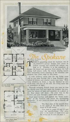 The Prairie School influence is evident in the Foursquare Spokane. Despite the boxy shape and pyramidal roof, there is a strong horizontal line in the wide, boxed eaves and stucco and lapped siding. The wide front porch carries the line as well.