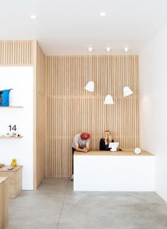 retail counter (opportunity for slat wall? Store Interiors, Office Interiors, Plywood Walls, Plywood Interior, Painting Plywood, Plywood Desk, Wood Panel Walls, Plywood Furniture, Interior Walls