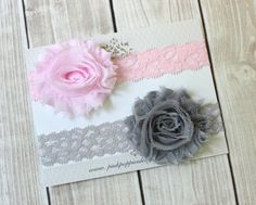 On+Sale++Pink+and+Gray+Lace+Headbands++Lace+by+PinkPoppiesDesigns