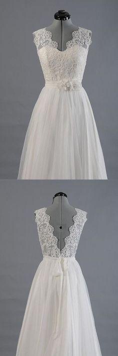Elegant V-neck Sweep Train White Open Back Lace Wedding Dress