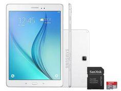 """Tablet Samsung Galaxy Tab A 9.7 16GB Tela 9,7"""" 4G - Wi-Fi Android 5.0 Proc. Quad-Core + Cartão 16GB com as melhores condições você encontra no Magazine Karlyns. Confira!"""