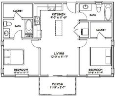 Items similar to House -- -- 864 sq ft -- PDF Floor Plan . Guest House Plans, Small House Floor Plans, Cabin Floor Plans, Small House Plans Under 1000 Sq Ft, Tiny Cabin Plans, Metal House Plans, The Plan, How To Plan, 2 Bedroom Floor Plans
