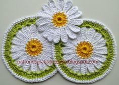 Posavasos con centro de margaritas - crochet con patrones