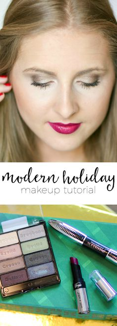I'm LOVING this modern holiday makeup tutorial! The shimmering taupe eyes are so beautiful, and I can't get over how perfect the plum lipstick is. Plus, all of the makeup used is from the drugstore!