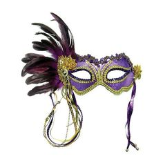 Purple and Gold Metallic Satin Mask with Side Feathers and Beaded... ($11) ❤ liked on Polyvore featuring masks, accessories, masquerade, mascaras and backgrounds