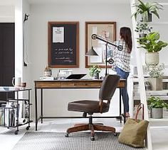 Design a perfect home office with stylish and functional office furniture. Find desk chairs and home office chairs online and at your local Pottery Barn. Home Office Design, Home Office Decor, Home Decor, Office Style, Herman Miller, Desk Redo, Reclaimed Wood Desk, Metal Desks, Adjustable Height Desk
