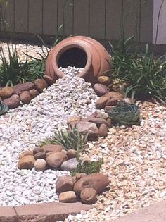 Loved using ideas from Pinterest in our new low maintenance landscaping project.