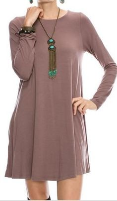Favorite Cocoa Tunic Dress with POCKETS!