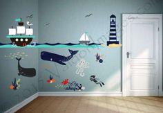 Ship adventure, nursery decals, nautical wall decor, nursery decor, ocean wall d.
