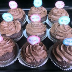 Chocolate chunk cupcakes with chocolate buttercream icing