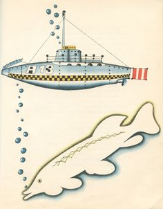 Submarine Design Idea in a vintage illustration by Vladimír Fuka from the book The Ideas of Mr. April - images via 50 Watts
