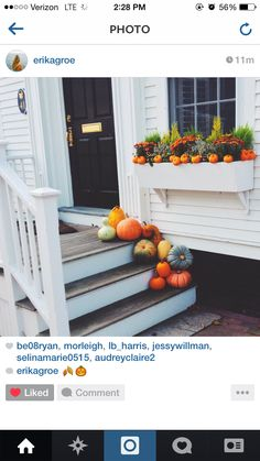 Totally stole this photo from @erikatilly Instagram but I am IN LOVE with this front porch and the autumn decor