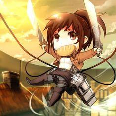 chibi, Shingeki no Kyojin, Attack on Titan, Potato girl Sasha Braus Anime Chibi, Manga Anime, Moe Anime, Kawaii Chibi, Cute Chibi, Kawaii Anime, Armin, Mikasa, Attack On Titan