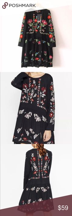 Zara Embroidered Dress Round neck. Long sleeves. Embroidered flower all over. Button closure on the back. Uneven hem. Zara Dresses