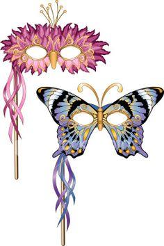 Butterfly/Bird Mardi Gras Masquerade Party Masks Royalty Free Stock Vector Art Illustration