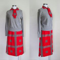 1960s Dress / 60s Skirt and Sweater Set / Red by GuermantesVintage