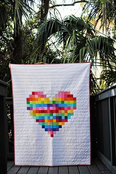 Pixelated Heart Quilt :: Dandelion Drift