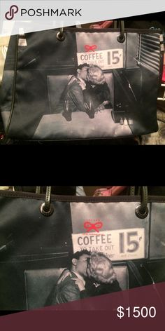Anya Hindmarch  vintage coffee shop tote Appears to be Marilyn Monroe kidding in a coffee shop. Definitely shows used cond inside.. small ink marks etc.. still Vintage and good used condition Anya Hindmarch Bags Totes