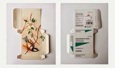 Sara Landeta arte en medicamentos. Preciosos pájaros dibujados en cajas de medicamentos. Una preciosa metáfora sobre la enfermedad.