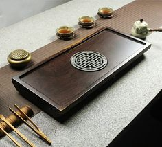 Ebony wood tea tray displaying and serveing tea by Chinateaware