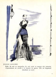 Jeanne Lafaurie 1948 Demachy Evening Gown Close Image, Dressmaking, Evening Gowns, Vintage Fashion, Sketches, Guys, Illustration, Pretty, Art