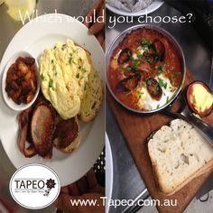 Which would you choose? #Scrambledeggs #bacon #bakedbeans on #sourdough #toast or #flamencoeggs with #chorizo. Leave your comment below. Tapeo: 82 Redfern St, Redfern NSW. Check us out at http://www.Tapeo.com.au & follow us on FB http://FB.com.tapeo.au #tapeo #tapeocafe #tapeoredfern #redfern #sydneycafe #sydney #cafe #restaurant