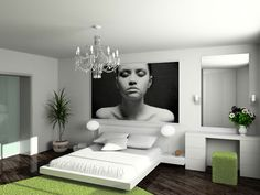 Avoid big blank walls; it will make a room feel under-scale and empty. Fill a large wall with an extra-large piece of artwork.