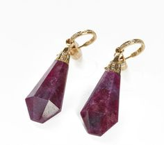 Ruby Neverending Gold Small Stone Drop Earrings
