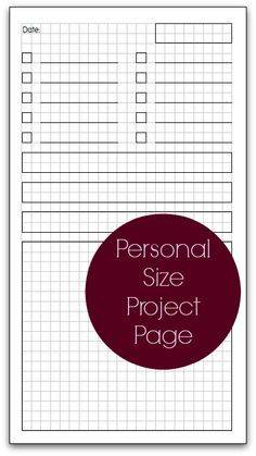 Planner Fun: Personal Size Project Page [free printable]
