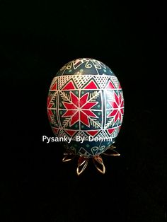 Traditional Red Rose Pysanky Pysanka Large by PysankyByDonnaJ
