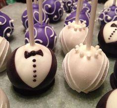Bride and groom cakepops