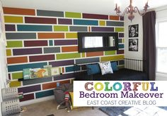 Colorful Bedroom Makeover.  Mosaic Painted Accent Wall. Faux Canvas DIY and lots more.  Tutorials all week on EC2 Blog