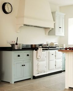 English Kitchen with Aga Stove, love the large ceramic knobs