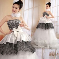 White and Black Unique Peplum Ball Gown Second Wedding Prom Dresses SKU-120074