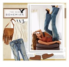"""""""The New Bohemian with American Eagle Outfitters: Contest Entry"""" by soyance ❤ liked on Polyvore featuring American Eagle Outfitters, Bomedo and aeostyle"""