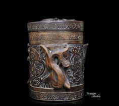"""Vintage Borneo Heirloom Container 9""""Tribal Dayak Wood Box Carved Spiraled Dragons/Mythological Protective Figures/Foliate Scroll Artwork by BorneoHunters on Etsy"""