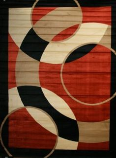 Amazon.com - Avalon 1052 Orange 5x7 Area Rugs Modern Contemporary Abstract Black Ivory Beige Carpet