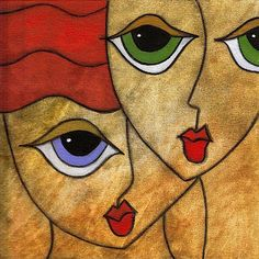 Art 'Shared' - by Thomas C. Fedro from Faces Abstract Pencil Drawings, Abstract Face Art, Art Drawings, Learn Watercolor Painting, Cubism Art, Artist Portfolio, Painting Inspiration, Modern Art, Pop Art