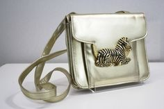 Gold Vintage Handbag Purse with Zebra Medallion by ELOFSON on Etsy