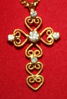Vintage Necklace Golden Cross with Rhinetones by ilovevintagestuff