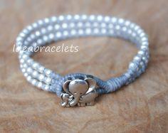 Silver Triple Wrap Elephant Bracelet, Baby Girl Jewelry, Mom & Daughter Bracelet, Birthday Gift For Kid, Flower Girl Handmade Gift - Gray by IdeaBracelets on Etsy