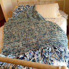 Sand and Surf Coastal Home Decor Blanket White, Blue, Mint Green, Cream large blanket throw afghan by CricketsHome