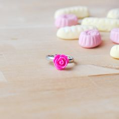 New to Onetenzeroseven on Etsy: Hot Pink Rose Ring | Bright Pink Flower Ring | Adjustable (5.50 GBP)