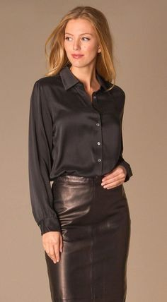 acecb00de21b81 Black silk blouse on its own or layered under sweaters
