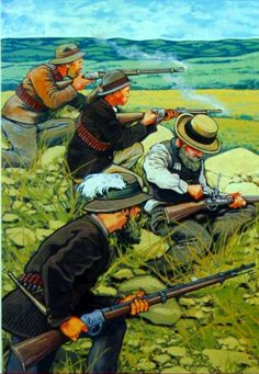 Boer commandos engaging the British in the Transvaal during the Boer War, ca. Military Art, Military History, Military Diorama, Vintage Dance, British Colonial, Modern Warfare, British Army, Art History, Warriors