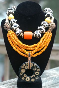 Designer Multi-Strand Orange Glass and Bamboo Resin Pendant Necklace