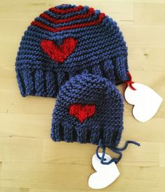 Valentine newborn and toddler brother hats!